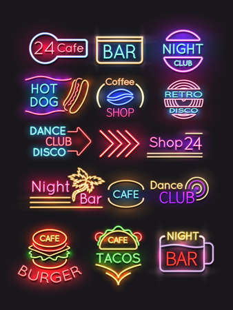 Night bar and burger coffee, cafe neon signs set. Vector illustration