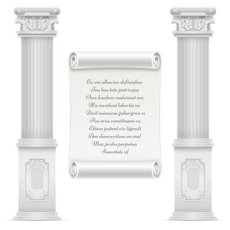 Antique roman architecture design with marble stone colomns and text on wall parchment stone, vector engraved text on marble illustration