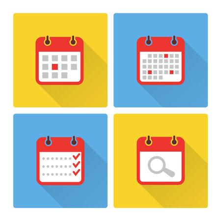 Calendar and to do list colorful flat icons. Calendar plan page icons. Vector illustration Ilustración de vector