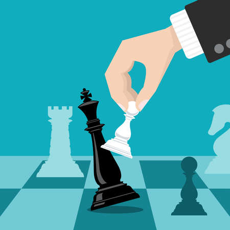 Business checkmate strategy vector concept with hand holding chess pawn knocking down king. Business strategy win metaphor illustration