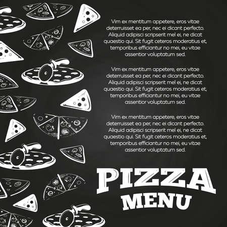 Chalkboard pizza menu poster - fast food banner design. Vector illustration