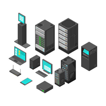 Isometric technology and banking icons. Flat vector illustration. Computer and laptop with system hardware networking Vektoros illusztráció
