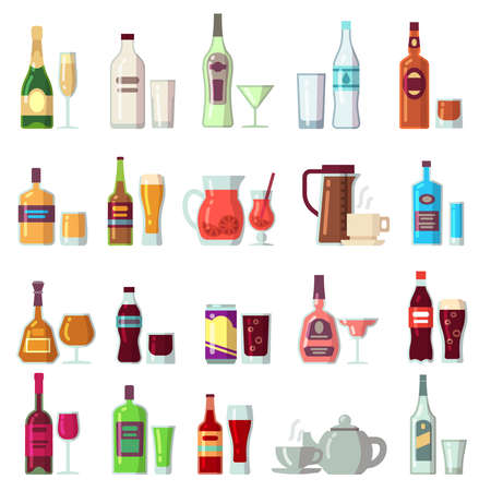 Alcoholic and soft drinks. Beverages in glass and bottles flat vector icons. Cocktail and alcohol bottle, coffee and drink beverage illustration Vetores