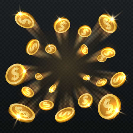 Golden dollar coins explosion isolated. Vector illustration for finance and gambling concept. Gold coin dollar and finance fortune