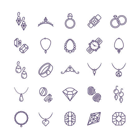 Expensive gold jewelry with diamond vector line icons and wedding accessories symbols. Expensive fashion diamond and gem illustration
