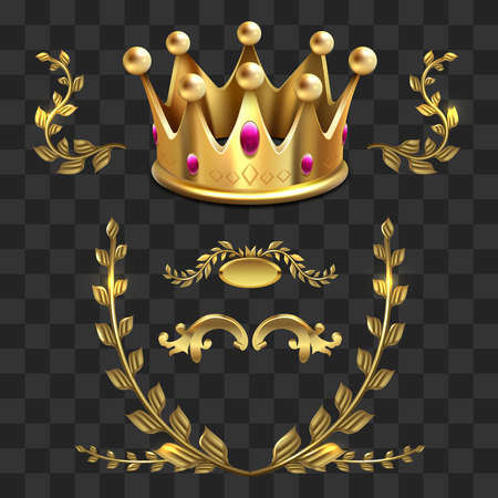 Golden vector heraldic elements. Kings crown, laurel wreath isolated on transparent background illustration