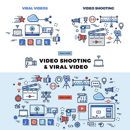 Viral video and video shooting information page. Viral video for internet marketing llustration Vektoros illusztráció