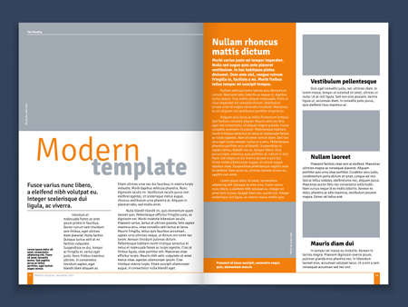 Modern magazine or newspaper vector layout with text modular construction and image places. Journal or newspaper template with title for news illustration