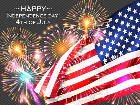 USA Independence day poster with firework and flag. Vector illustration Vektoros illusztráció