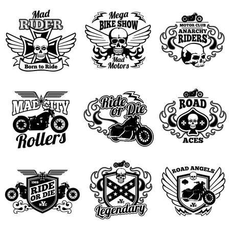 Vintage motorcycle labels. Motorbike vector retro badges and logos. Badge motorcycle and motorbike, label vintage emblem for moto club illustration
