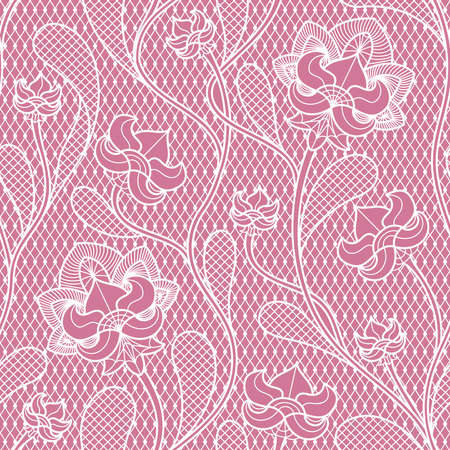Floral lace seamless texture. Retro victorian pattern. Fabric retro texture with lace pattern. Vector illustration Vector Illustration