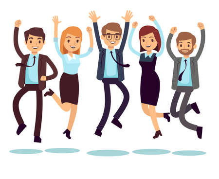 Happy and smiling workers, business people jumping flat vector characters. Happy worker character, team office people illustration Vector Illustratie