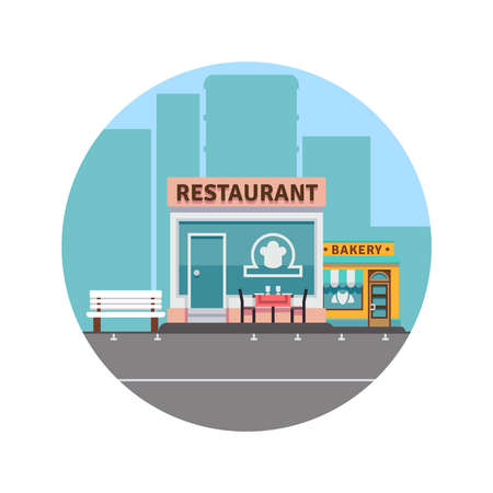 City landscape concept with downtown silhouette and restaurant and bakery colorful front. Vector illustration Ilustración de vector