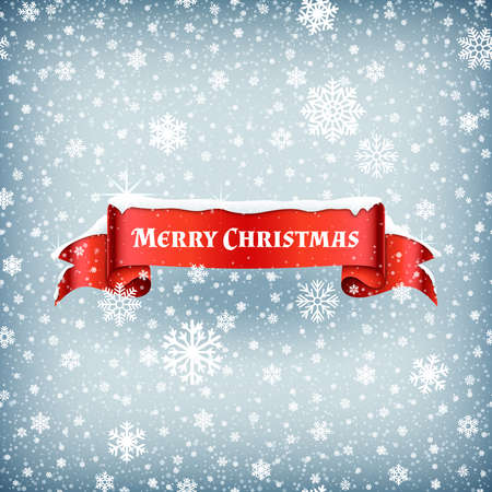 Merry Christmas celebration background with falling snow and red banner ribbon vector illustration. Xmas ribbon banner with snowflake Vektoros illusztráció