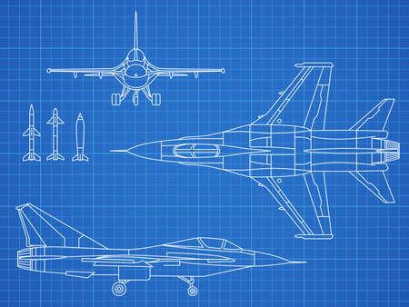 Military jet aircraft drawing vector blueprint design. Aircraft military plan blueprint illustration Ilustración de vector