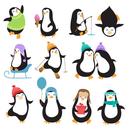 Funny christmas penguins vector characters. Set of penguin animal with ice cream and fishing illustration