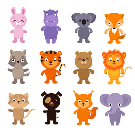 Funny cartoon young animals. Vector characters collection of dog and rabbit animals illustration Vecteurs