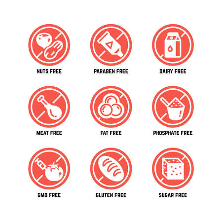 Food dietary symbols. Gmo free, no gluten, sugarless and allergy vector icons set. No sugar and gluten, ban gmo amd phosphate illustration Vector Illustration