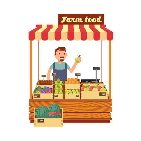 Fruit and vegetable market shop stand with happy young farmer character flat vector illustration. Farm market with fruits, character man seller farm food