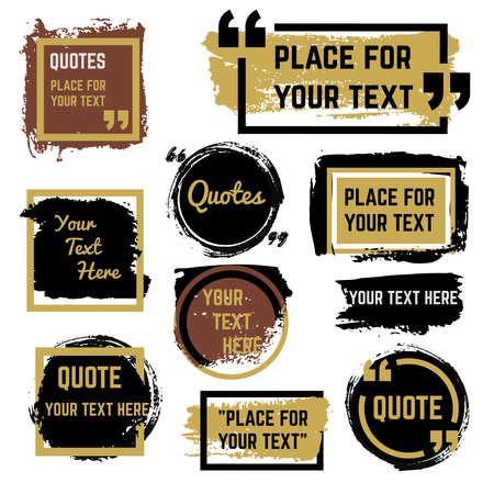 Quotes speech bubbles with frames and distressed rough brush texture vector set. Quotation speech distress frame, grunge bubble brush stroke illustration Vecteurs