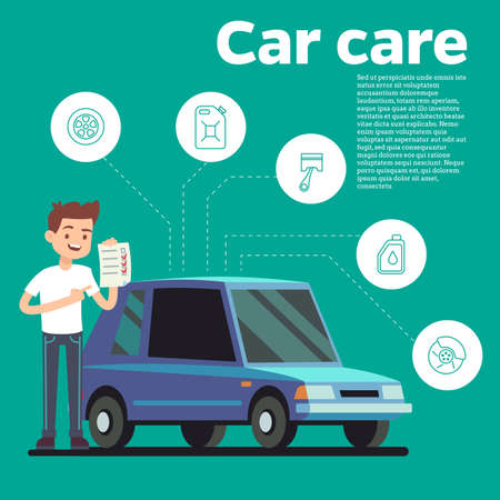 Cars tips vector illustration. Young man with checklist and blue car, Cartoon automobile
