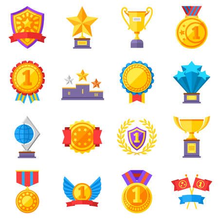 Trophy medals and winning ribbon success icons. Win awards vector winner symbols. Success and trophy with ribbon for achievement, winner medal for sport champion illustration