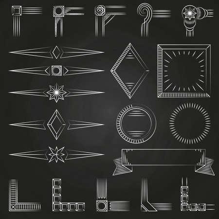 Vintage thin line shapes, frames corners on chalkboard. Vector illustration Vector Illustratie