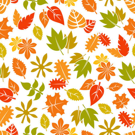 Autumn leaves seamless pattern - colorful fall foliage background. Vector illustration