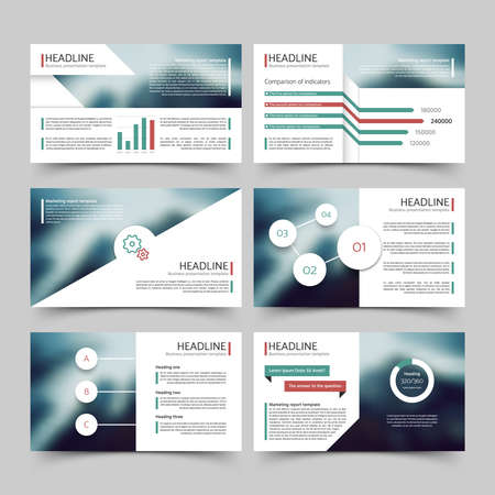 Business presentation corporate marketing report vector templates with diagrams and charts infographics elements. Brochure for presentation, business infographic and chart illustration