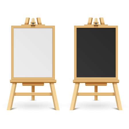 School black and white blank boards on easel vector illustration. Wooden frame board and chalk board on tripod Ilustración de vector
