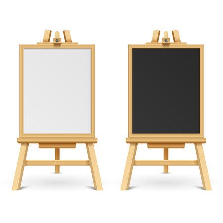 School black and white blank boards on easel vector illustration. Wooden frame board and chalk board on tripod Vektorové ilustrace