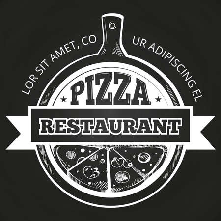 Hand drawn pizzeria label on chalkboard. Banner to pizzeria. Vector illustration