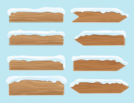 Wood banners planks covered with snow. Festive christmas vector decoration isolated. Wood board for christmas snow-capped illustration