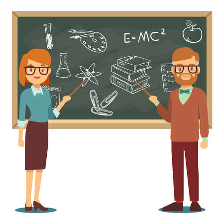 Male and female teachers standing in front of blank school blackboard vector illustration. School teacher and chalkboard, profession teaching