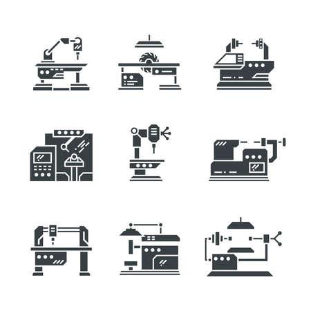 Steel industry machine tools vector icons. Equipment tools industrial metalwork illustration Vetores