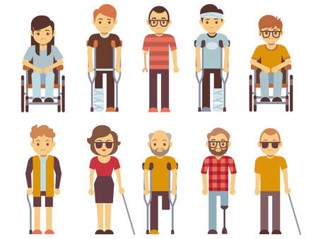 Disabled people vector set. old and young invalid persons isolated on white background. Person character invalid in wheelchair illustration Ilustración de vector