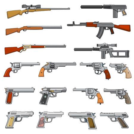 Various rifle, guns and pistols cartoon vector weapons icons. Collection of pistol and gun, shotgun and handgun illustration