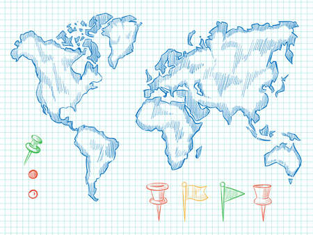 Hand drawn world map and colorful doodle pins on notebook back. Vector illustration