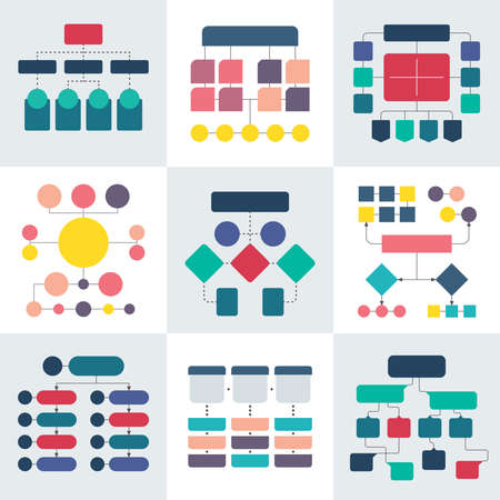 Flowchart schemes and hierarchy diagrams. Workflow chart vector elements. Chart structure hierarchy infographic illustration