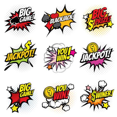 Vector winning game bubble stickers in retro pop art comic style. Explosion bubble winner comic speech. Vector illustration