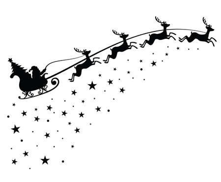 Santa Claus on sleigh flying sky with deers black vector silhouette for winter holiday decoration and Christmas greeting card. Monochrome santa claus with christmas tree in night sky illustration Vector Illustration