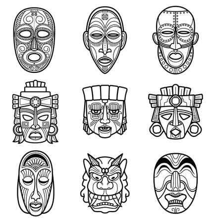 Indian aztec and african historic tribal mask set. Native face masks vector illustration