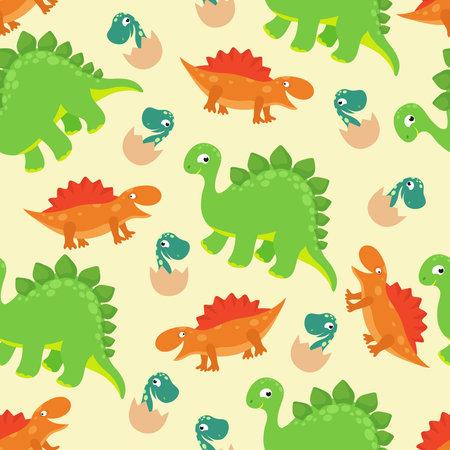 Cartoon baby dinosaur vector seamless pattern for girl fashion design. Pattern with monster dinosaur predator illustration