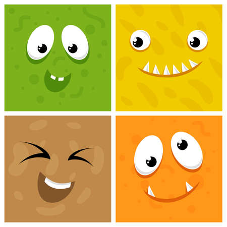 Set of cartoon monster faces. Flat face monster character, colored funny creature illustration
