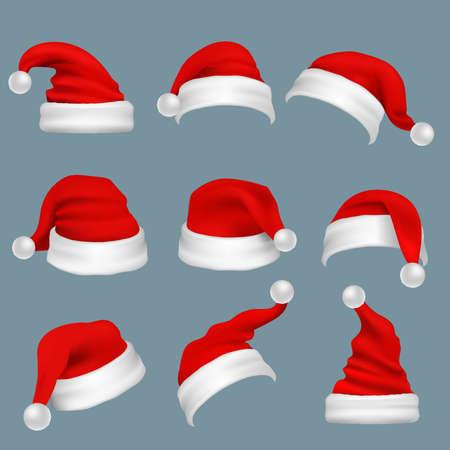 Realistic christmas santa claus red hats isolated vector set. Santa claus cap to xmas holiday celebration illustration