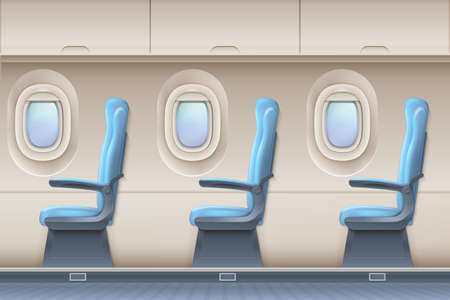 Passenger airplane vector interior. Aircraft indoor with comfortable chairs and portholes. Interior of aircraft and airplane illustration