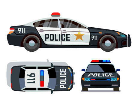 Vector flat-style cars in different views. Police car security vehicle with siren illustration