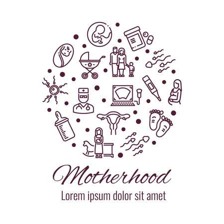 Motherhood thin line icons round shape form concept. Vector illustration