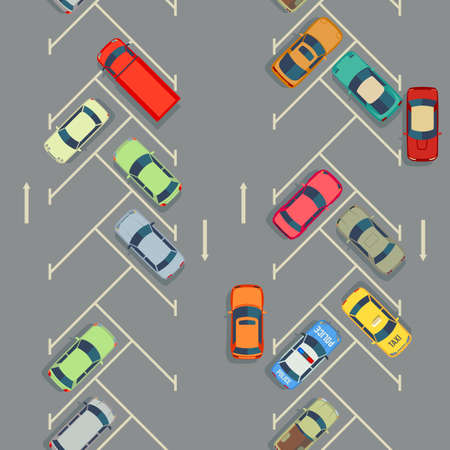 Urban cars seamless texture. Vector background. Parking with cars illustration