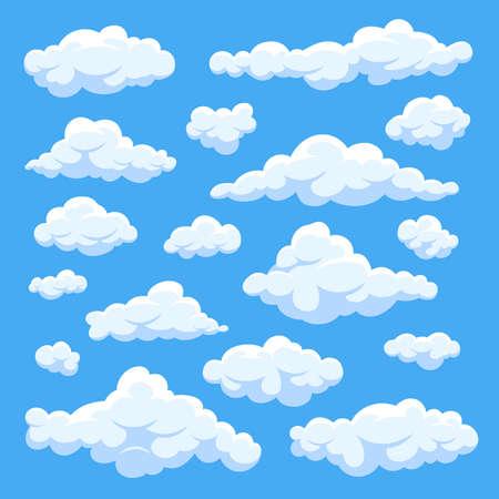 Fluffy white cartoon clouds in blue sky vector set. Cloudy day heaven. Cartoon cloudy fluffy illustration Vektorgrafik